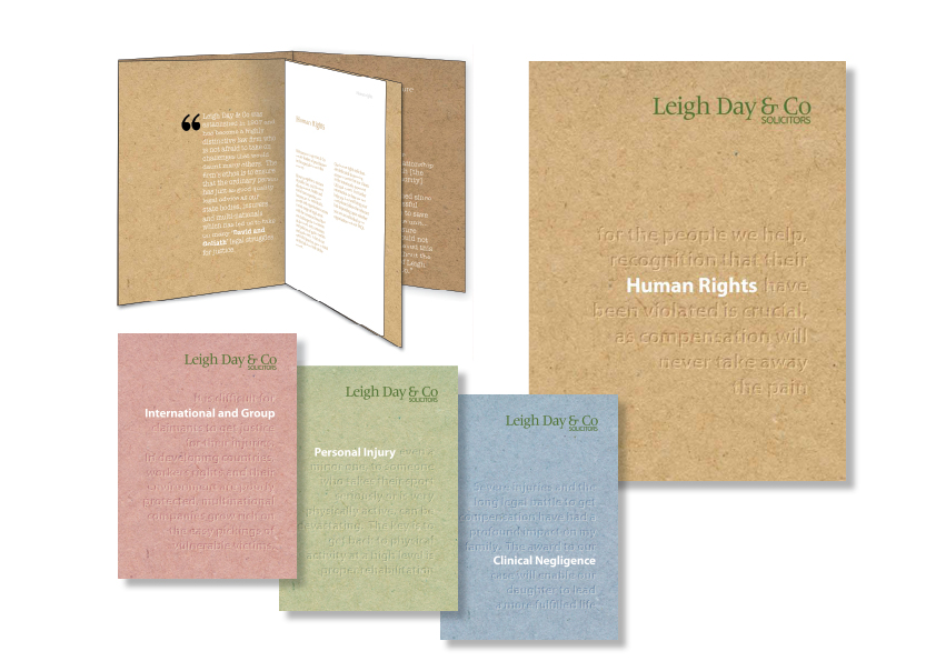 Leigh Day & Co brochure suite of leaflets