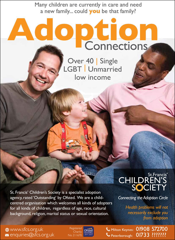 advert showing young gay couple with child