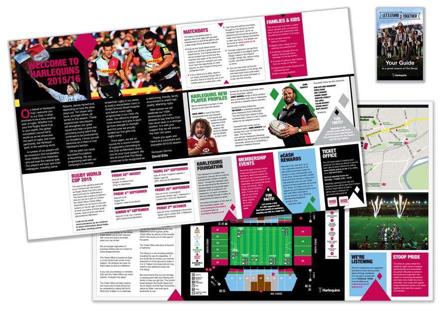 Fold-out guide of Harlequins stadium opened out