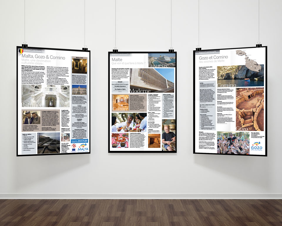 three hanging posters of Malta Tourist Board leaflet