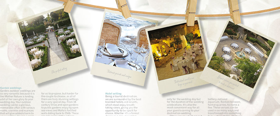 wedding pictures on pegs for wedding brochure